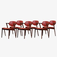Rosewood Model 42 Dining Chairs by Kai Kristiansen for Schou Andersen, 1965, Set of 6