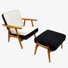 GE 240 Cigar Chair & Ottoman by Hans J. Wegner