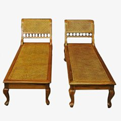 Cane Wood Chaise Lounge