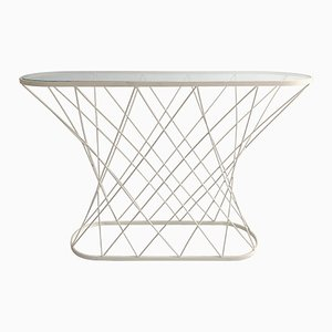 Mid-Century Twisted White Oval Console Table in the Style of Isamu Noguchi, USA, 1980s