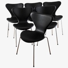 3107 Syveren Classic Dining Chairs in Black by Arne Jacobsen for Fritz Hansen, Set of 6