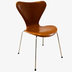 3107 Syveren Elegance Wax Dining Chair in Brown by Arne Jacobsen for Fritz Hansen