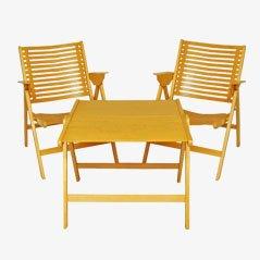 Mesa y sillas plegables Rex de Niko Kralj, 1952. Juego de 3