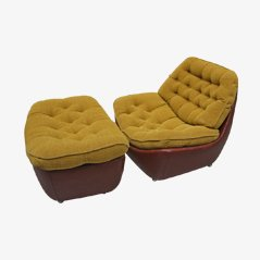 Italian Leather Armchair with Pouf, 1970s