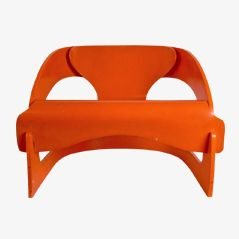 4801 Orange Plywood Easy Chair by Joe Colombo for Kartell, 1960s