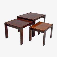 Tables Gigognes en Palissandre par Afra & Tobia Scarpa pour Cassina, 1960s, Set de 3