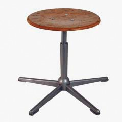 Vintage Industrial Beech and Metal Stool, 1960s