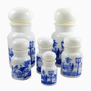 Botellas de farmacia belgas Mid-Century, años 50. Juego de 6