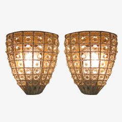 French Crystal Sconces, 1940s, Set of 2