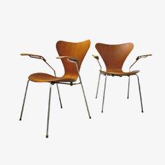 Modell 3207 Esszimmerstühle von Arne Jacobsen für Fritz Hansen, 1960, 2er Set