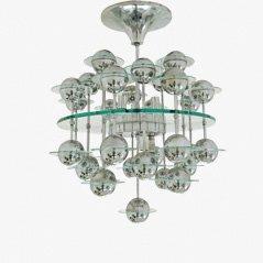 Lámpara de araña vintage de vidrio y cromo, años 70
