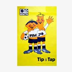Affiche Tip & Tap de la Coupe du Monde de 1974 par Horst Schäfer pour Mitgel Bonn-Impekoven
