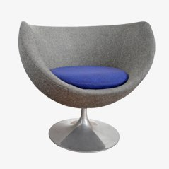 Grey and Purple Lounge Chair with Tulip Base
