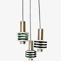 Anvia' Hanging Lamp In Dark Green And White