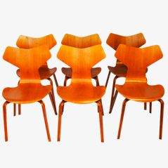 Grand Prix Chairs by Arne Jacobsen for Fritz Hansen, Set of 6