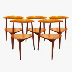 Heart Chairs by Hans J. Wegner for Fritz Hansen, 1952, Set of 5