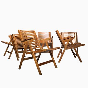 REX Wooden Folding Chairs by Niko Kralj for Stol Kamnik, 1960s, Set of 6