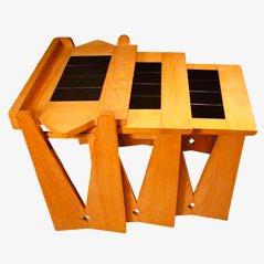 Mesas nido de Guillerme & Chambron para Votre Maison, años 50. Juego de 3