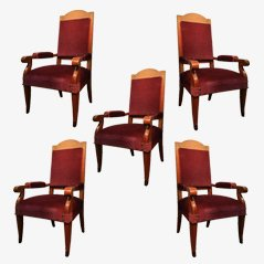 Art Deco Armchairs, 1940s, Set of 5