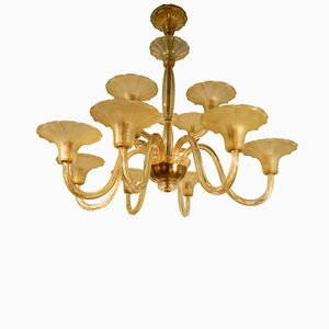Art Deco Twelve-Light Chandelier in Yellow Glass