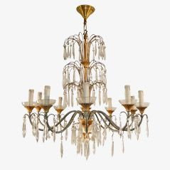 Vintage Crystal and Gilded Metal Chandelier, 1950s