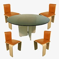 French Wood & Metal Dining Suite, Set of 5