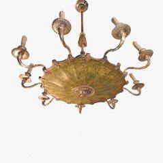 Lámpara de araña vintage de bronce y metal, años 30