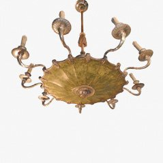 Vintage Bronze Metal Chandelier, 1930s