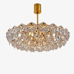 Mid Century Crystal and Gold Chandelier from Kinkeldey, 1970s