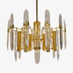 Italian 9 Light Brass & Crystal Chandelier by Gaetano Sciolari
