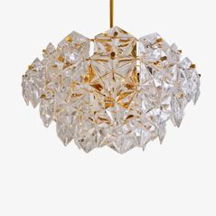 Faceted Crystal and Gilt Metal Chandelier by Kinkeldey Design Team from Kinkeldey