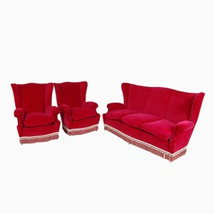 Italian Red Velvet Living Room Set, 1950s