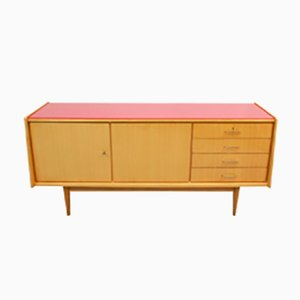 Mid Century Ash Sideboard with Red Glass Top, 1950s