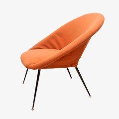 Mid Century Lounge Stuhl mit Metallbeinen, 1950er