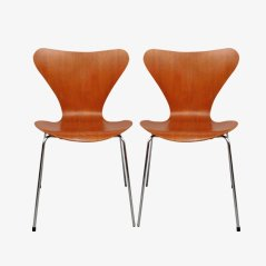 3107 Teak Chairs by Arne Jacobsen for Fritz Hansen, 1960s, Set of 2