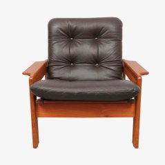 Teak and Leather Lounge Armchair from ECM Möbler, 1970s