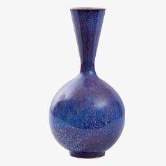 Blaue Keramik Vase von Sven Wejsfelt für Gustavsberg
