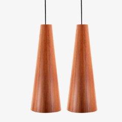 Lámparas colgantes de madera de Oregón de Jørgen Wolf para Torben Ørskov. Juego de 2