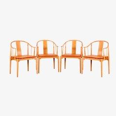 China Chair Modell 4283 Esszimmerstühle von Hans J. Wegner für Fritz Hansen, 4er Set