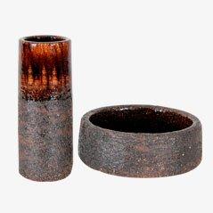 Vaso e ciotola in ceramica di Gustav & Ulla Kraitz, Scandinavia, set di 2