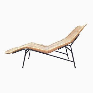 Vintage Wicker Chaise Lounge by Dirk van Sliedregt for Rohé Noordwolde, 1961
