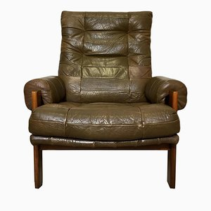 Vintage Swedish Patchwork Green Leather Lounge Chair from OPE