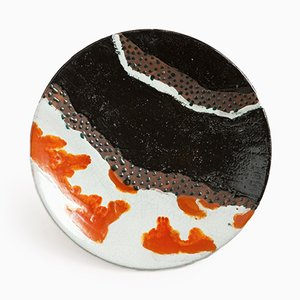 Black, White, & Orange Earthenware Dish by Primavera