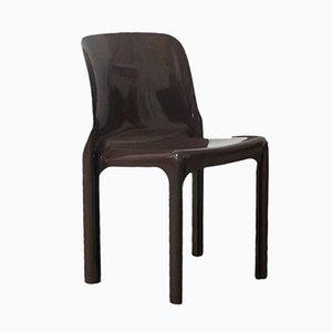 Brauner Selene Stuhl von Vico Magistretti für Artemide, 1969