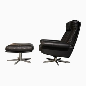 Vintage DS 31 High-Back Lounge Swivel Armchair and Ottoman from de Sede, 1970s