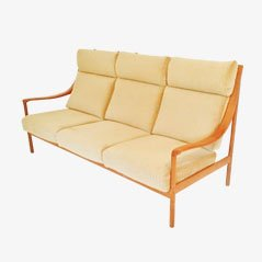 Sofá de respaldo alto de teca, años 60
