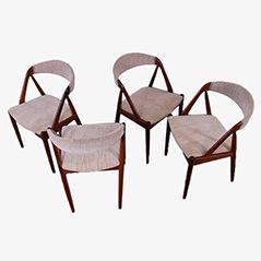 Danish Teak Chairs by Kai Kristiansen for Schou Andersen, 1960s, Set of 4