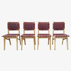 Leather Side Chairs by Jacques Adnet for Compagnie Des Arts Français, 1949, Set of 4