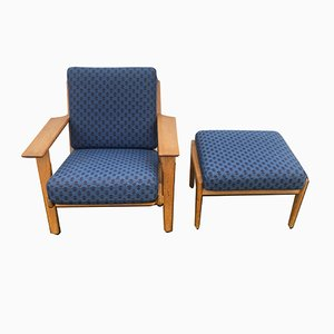 Danish GE 290 Lounge Chair & Ottoman Set by Hans J. Wegner for Getama, 1970s