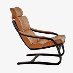 Dänischer Mid Century Leder Lounge Sessel